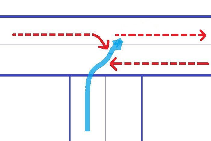 バンコクの信号なしT字路を右折。